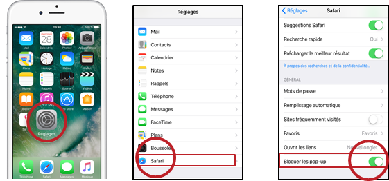 paramétrer déblocage pop up sur iPhone et iPad